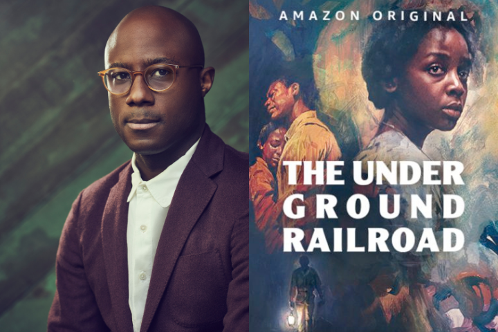 """Barry Jenkins headshot and """"The Underground Railroad"""" poster"""