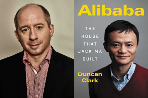 """Duncan Clark headshot and """"Alibaba"""" book cover"""