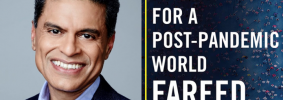 """Fareed Zakaria headshot and """"Ten Lessons for a Post-Pandemic World"""" book cover"""