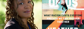 """Heather McGhee headshot and """"The Sum of Us"""" book cover"""