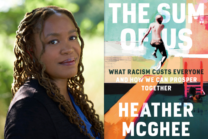 "Heather McGhee headshot and ""The Sum of Us"" book cover"