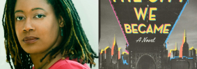 """N.K. Jemisin headshot and """"The City We Became"""" book cover"""