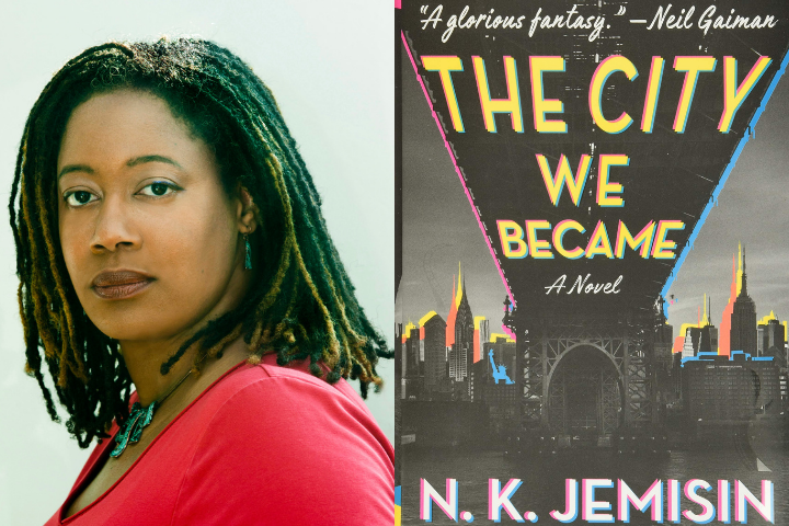 """NK Jemisin headshot and """"The City We Became"""" book cover"""