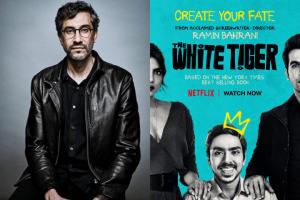 "Ramin Bahrani headshot and ""The White Tiger"" movie poster"