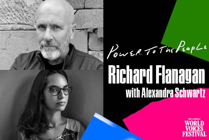 """On left: Headshots of Richard Flanagan and Alexandra Schwartz. On right: """"Power to the People"""" and """"Richard Flanagan with Alexandra Schwartz"""" name on top of assorted colorful shapes"""