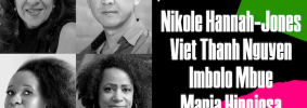 """On left: Headshots of Nikole Hannah-Jones, Viet Thanh Nguyen, Imbolo Mbue, and Maria Hinojosa. On right: """"Power to the People"""" and list of participant names on top of assorted colorful shapes"""