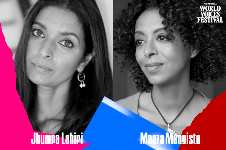 Headshots and names of Jhumpa Lahiri and Maaza Mengiste with multicolor ripped paper on bottom edge