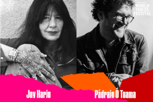 Headshots and names of Joy Harjo and Pádraig Ó Tuama with multicolor ripped paper on bottom edge
