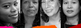 Headshots and names of Kaitlyn Greenidge, Saidiya V. Hartman, Fatima Shaik, and Clarisse Rosaz Shariyf with multicolor ripped paper on bottom edge