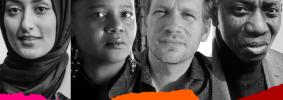 Headshots and names of Threa Almontaser, Edwidge Danticat, John Freeman, and Yusef Komunyakaa with multicolor ripped paper on bottom edge
