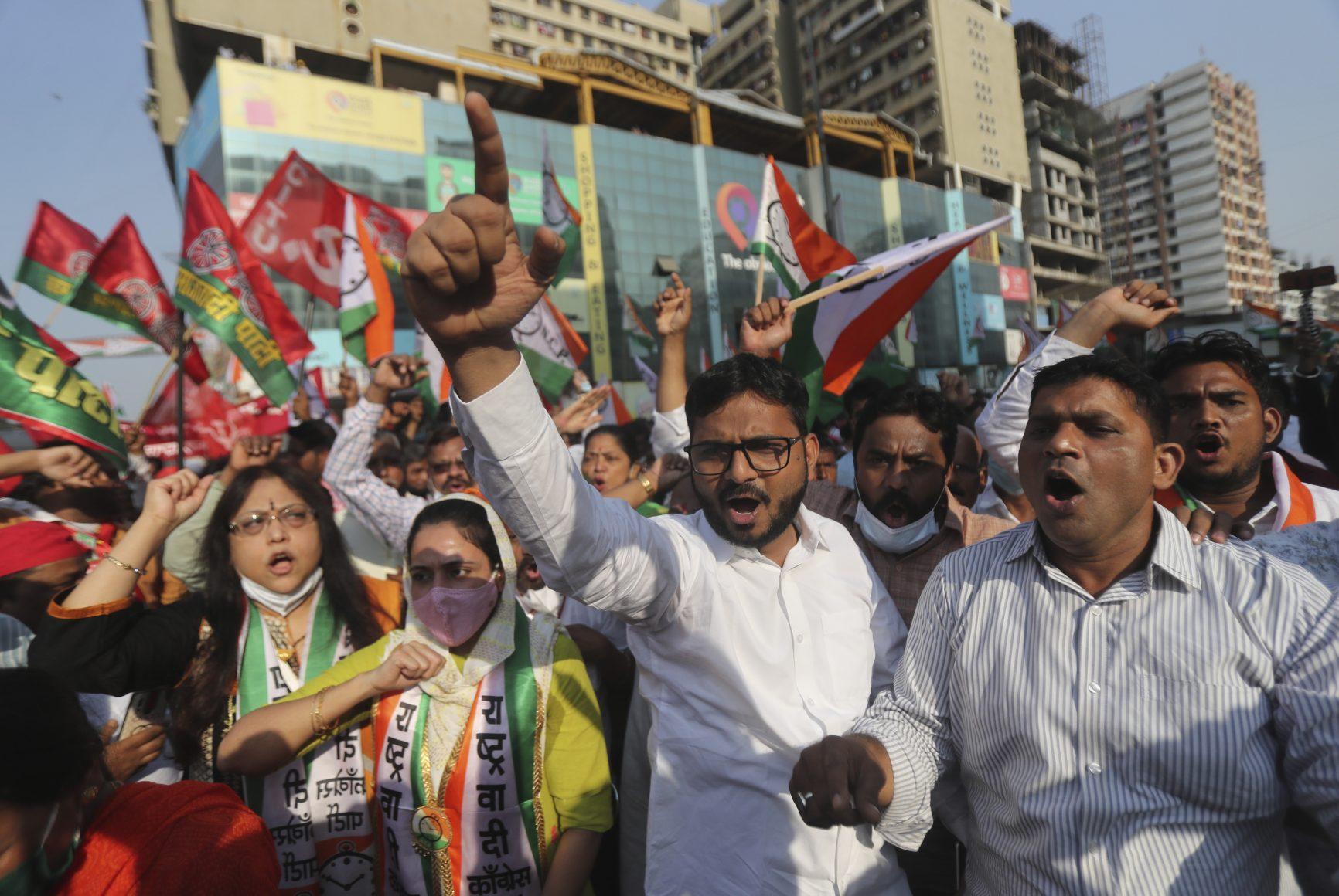 protestors in Mumbai, India
