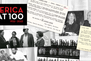 a collage of photos and postcards with the text PEN America at 100