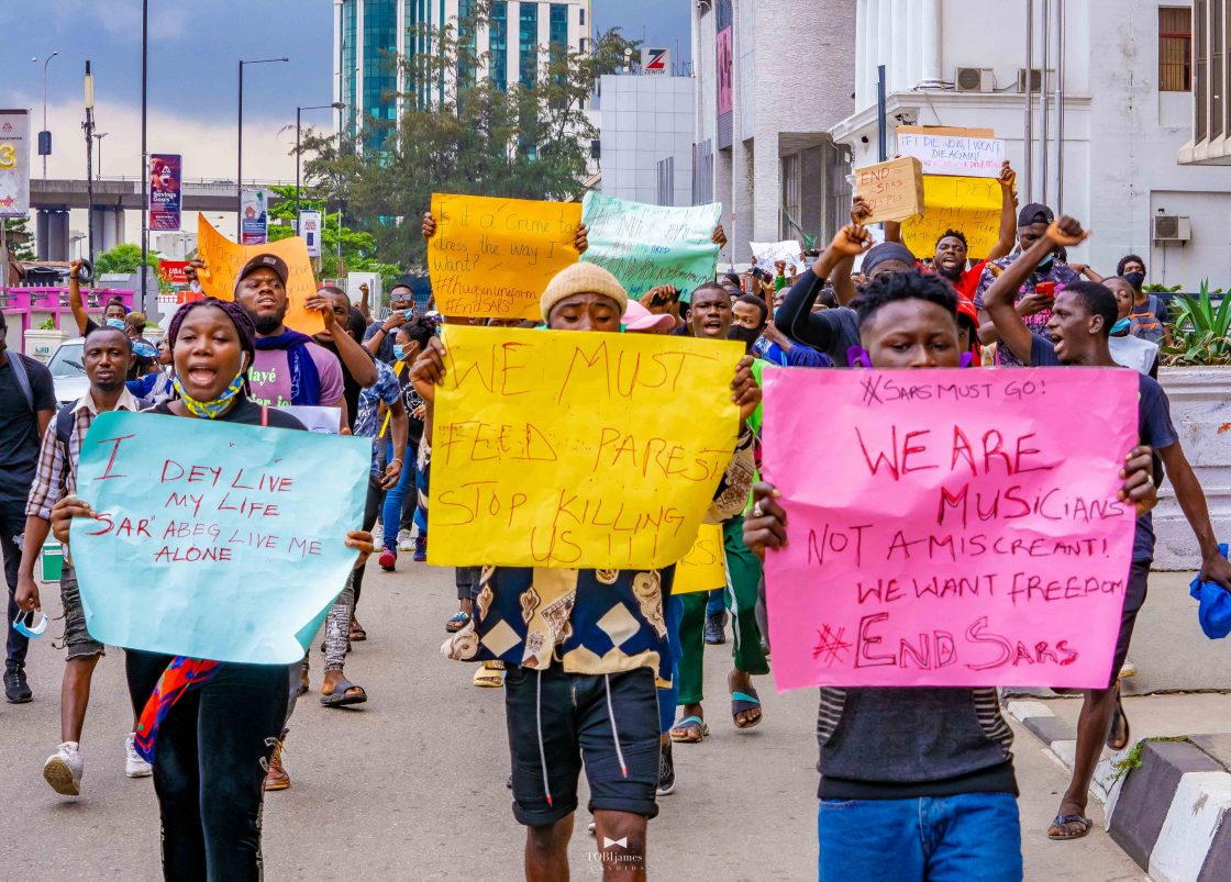 Protesters in Nigeria march against police brutality