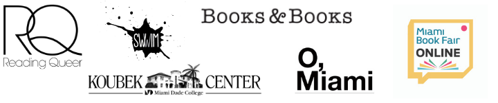from left to right: Reading Queer logo, SWIMM logo, Books and Books logo,