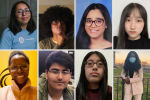 Headshot of students; top row from left: Brenda Panama, Maddox Brown, Deborah George, Soyoung Kim; bottom row from left: Nicole Manning, John Tustin, Diana Sanchez, Fatoumata Drammeh