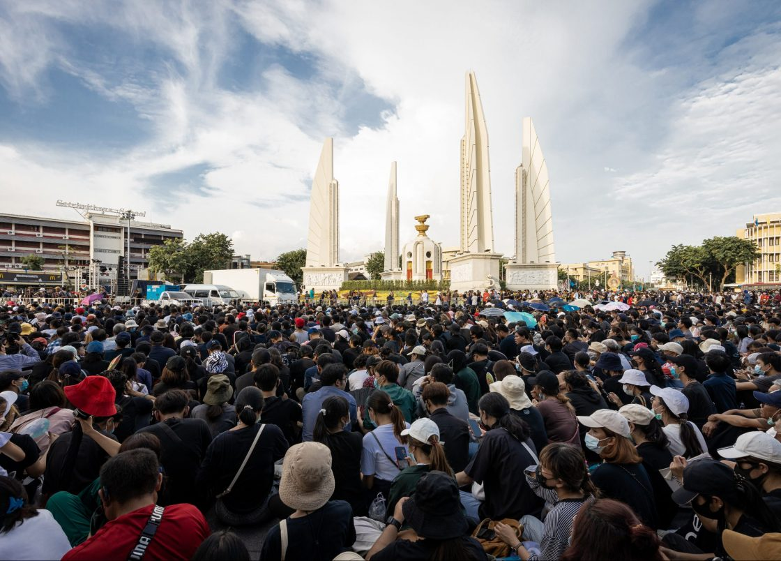 Protesters gather in front of the Democracy Monument in Thailand