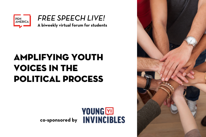 """On left: """"Free Speech Live!: A biweekly virtual forum students. Amplifying Youth Voices in the Political Process, co-sponsored by Young Invincibles."""" On right: image of hands joined together"""