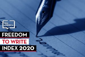 """a fountain pen writes on a piece of paper; on top: PEN America logo and """"Freedom to Write Index 2020"""""""