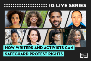"Speaker headshots on black background and the words ""How Writers and Activists Can Safeguard Protest Rights"" on teal text box"