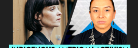 """Toni Jensen's and Thomas Lopez Jr.'s headshots on black background and the words """"Indigenous American Activism in the 21st Century"""" on teal text box"""