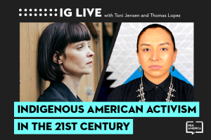 "Toni Jensen's and Thomas Lopez Jr.'s headshots on black background and the words ""Indigenous American Activism in the 21st Century"" on teal text box"