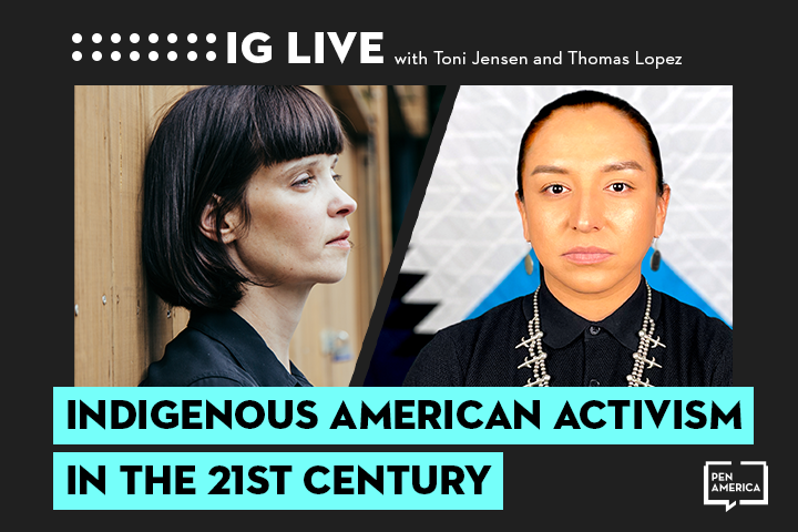 """Toni Jensen's and Thomas Lopez Jr.'s headshots on black background and the words """"Indigenous Activism in the 21st Century"""" on teal text box"""