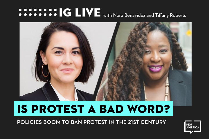 """Nora Benavidez's and Tiffany Roberts's headshots on black background and the words """"Is Protest a Bad Word?"""" on teal text box"""