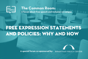 "Seats in a lounge with light blue overlay as backdrop; on top: ""The Common Room: A forum about free speech and inclusion on campus. Free Expression Statements and Policies: Why and How"""