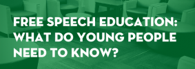 """Seats in a lounge with green overlay as backdrop; on top: """"The Common Room: A forum about free speech and inclusion on campus. Free Speech Education: What Do Young People Need to Know?"""""""