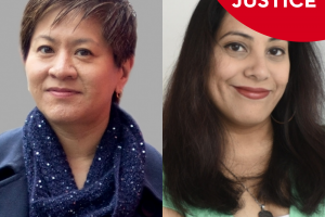 Works of Justice Podcast graphic with headshots of Yukari Kane and Shaheen Pasha