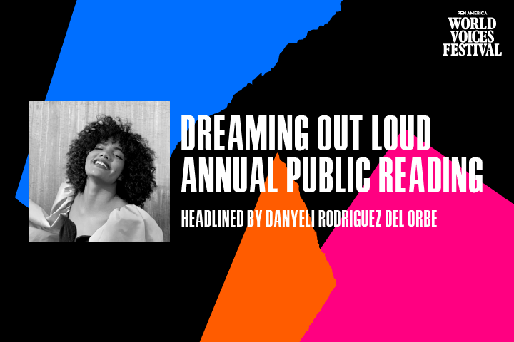 """Multicolored ripped paper in background; on top: """"Dreaming Out Loud Annual Public Reading: Headlined by Danyeli Rodriguez Del Orbe"""""""
