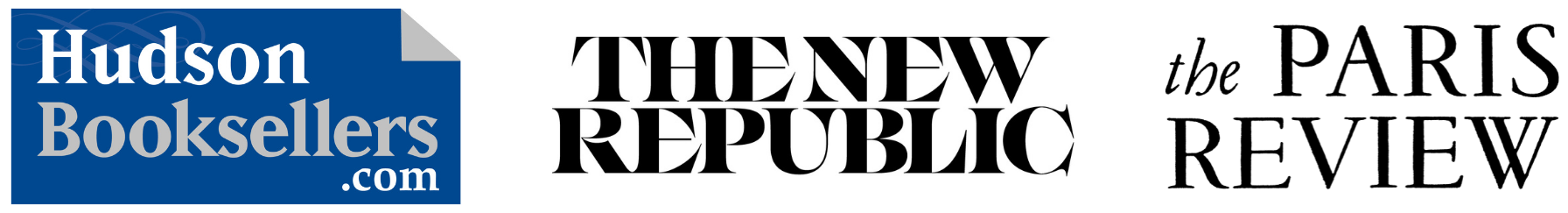 Logos of media partners: Hudson Booksellers, The New Republic, and The Paris Review