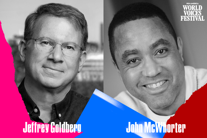 Headshots and names of Jeffrey Goldberg and John McWhorter with multicolor ripped paper on bottom edge