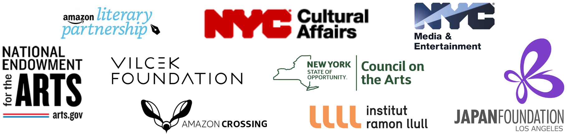 Logos of presenting sponsors: Amazon Crossing, Amazon Literary Partnership, Horace Goldsmith Foundation, Institut Ramon Llull, Japan Foundation, Los Angeles, JKW Foundation, New York City Mayor's Office of Media and Entertainment, National Endowment for the Arts, New York State Council on the Arts, New York City Department of Cultural Affairs, and Vilcek Foundation