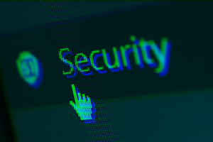 stylized image of word Security on a computer screen with a cursor