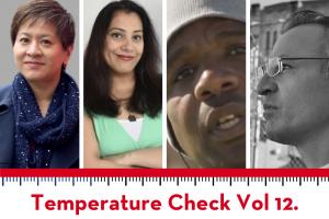 Temperature Check 12.0 graphic with headshots of Yukari Kane, Shaheen Pasha, Steve Brooks, and Joe Garcia