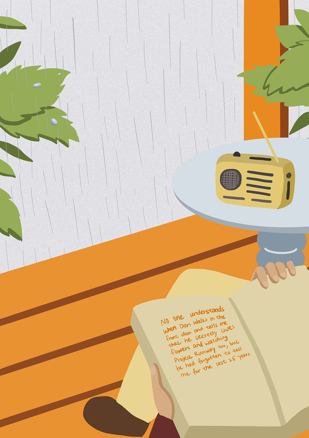 Person out of frame holds and reads an open book on the porch on a rainy day. A radio sits on top of a table.