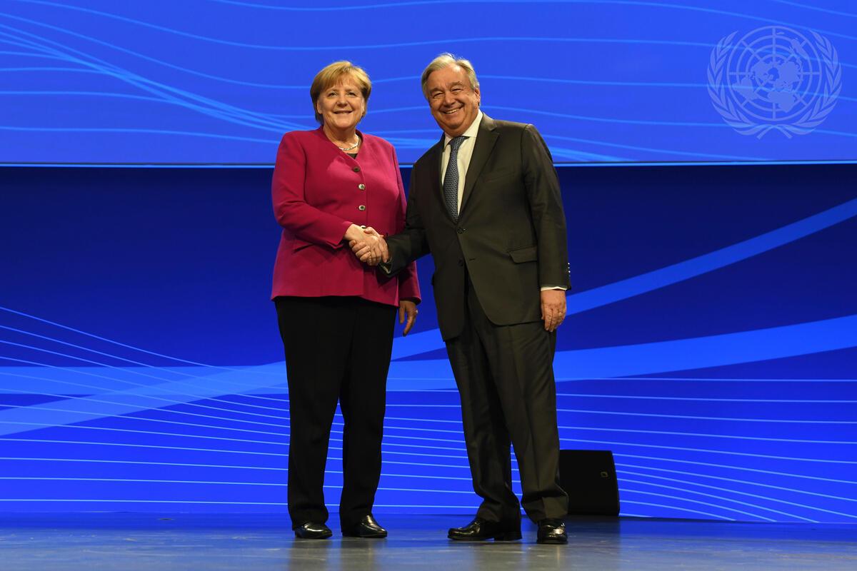 German Chancellor Angela Merkel and UN Secretary-General António Guterres at the 2019 Internet Governance Forum