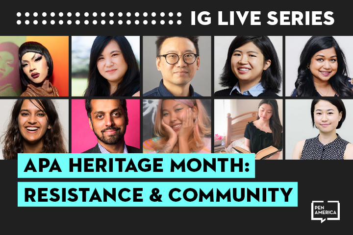 """Speaker headshots on black background and the words """"APA Heritage Month: Resistance & Community"""" on teal text box"""