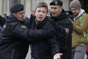 Roman Protasevich being detained by Belarus police