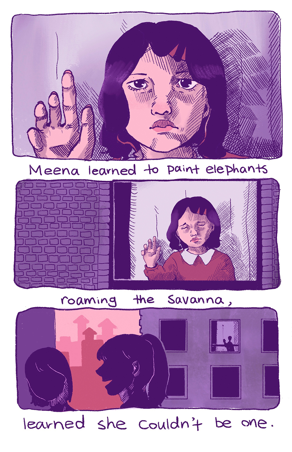 Three panel comic strip of sad girl looking at viewer with one hand pressed against the window pane and street scene below.