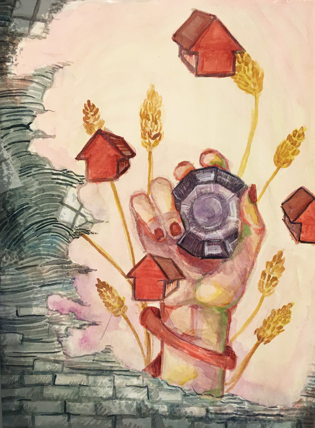 Through a hole in a brick wall, a woman's hand grasps a gem. The hand surrounded by small houses and leaves of grain.