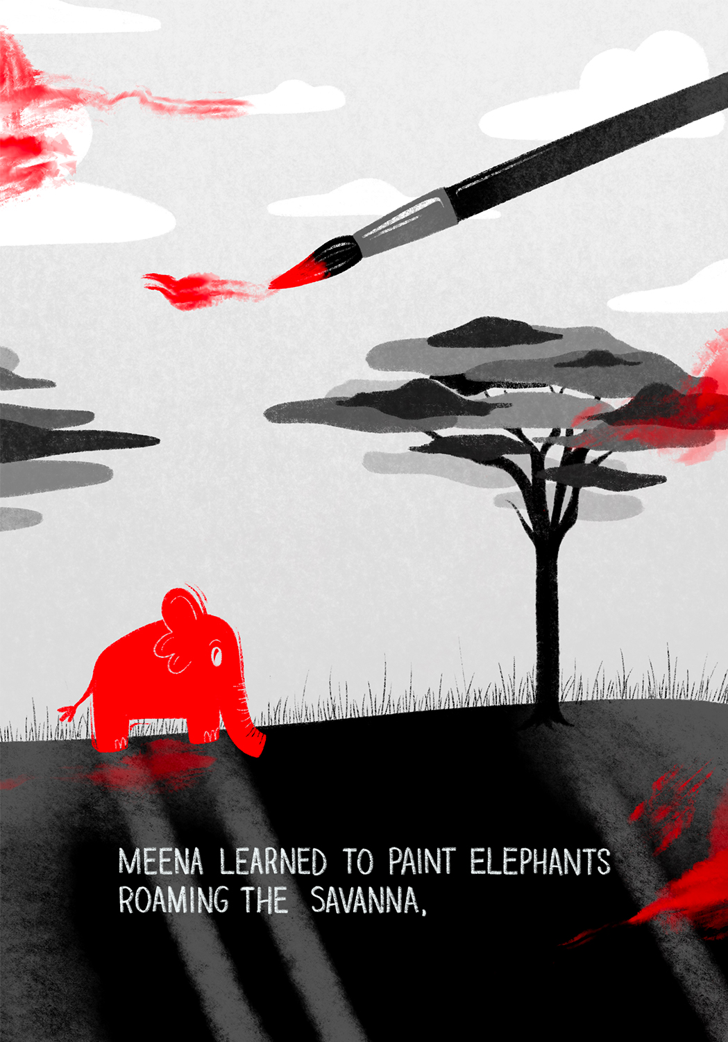 Small elephant painted red in open field beneath two trees. A paint brush from above smears red paint randomly over image.