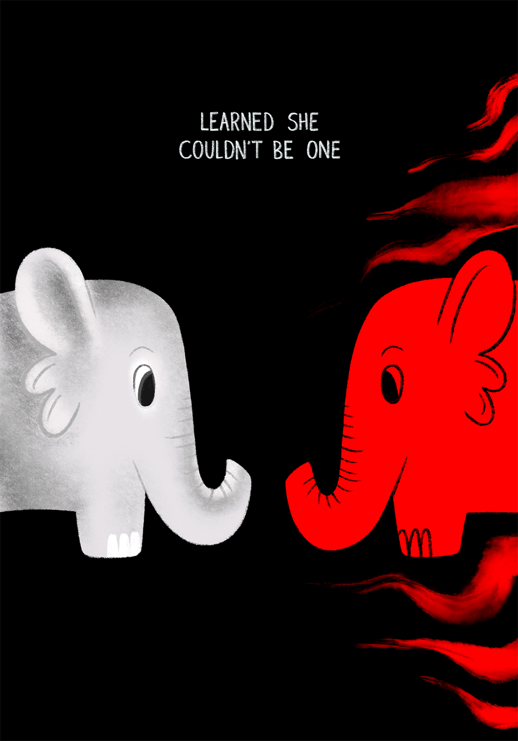 Against a black background, the gray elephant and the red, paint smeared elephant face and stare at each other like a mirror.