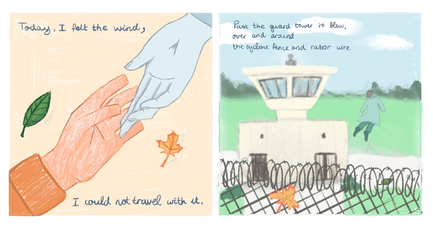 Two panel comic of the wind as a hand touching a man's hand, and wind as a person flying over a prison's fence past a tower.