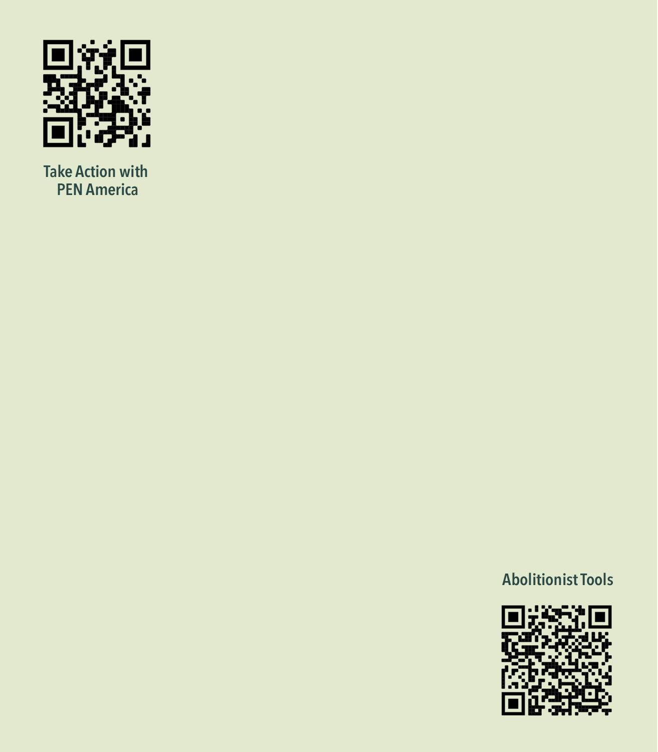 QR code in top left and bottom right corner. The words