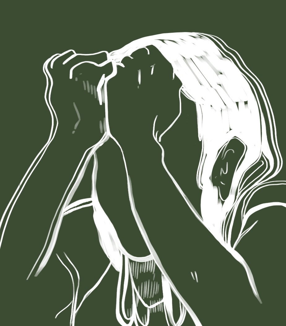 Faceless woman drawn in white against green background with clenched fists pressed against her forehead in sorrow or anger.