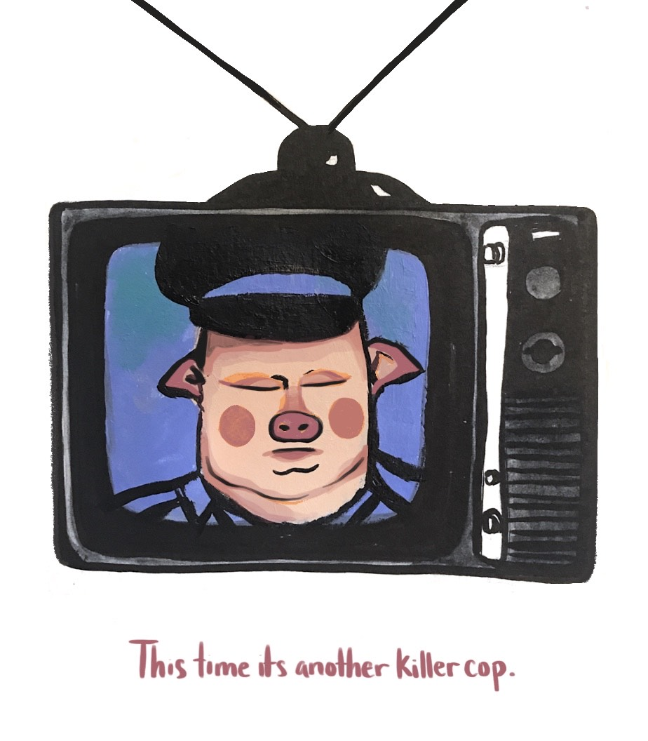 Vintage television set with knobs and antennae showing a police officer as a pig with a pig nose, cheeks, and ears.