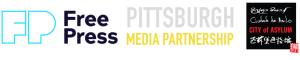 Free Press, Pittsburgh Media Partnership, City of Asylum logos on white background