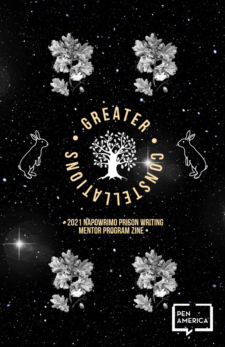 'Greater Constellations' cover: leaves and rabbits floating in a starry sky